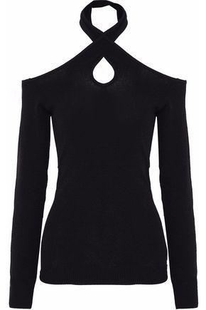 AUTUMN CASHMERE Cutout stretch-knit halterneck sweater