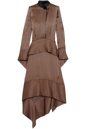 PETAR PETROV Leather-trimmed asymmetric striped silk-satin midi dress