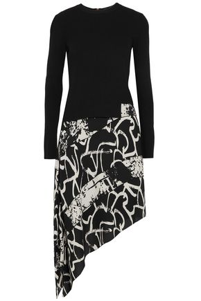 PROENZA SCHOULER Asymmetric ribbed-knit and printed silk-crepe dress