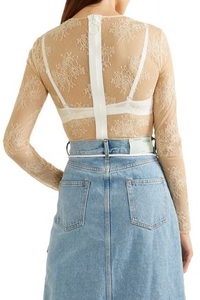 OFF-WHITE™ Appliquéd lace bodysuit