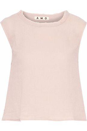 AMO Ruffled frayed cotton-gauze top