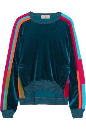 PREEN by THORNTON BREGAZZI Anouk intarsia knit-paneled velvet sweatshirt