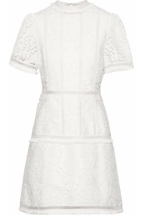 RACHEL GILBERT Fringe-trimmed broderie anglaise mini dress