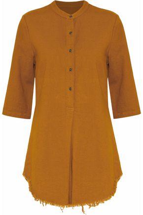 RAQUEL ALLEGRA Henley frayed cotton-twill tunic
