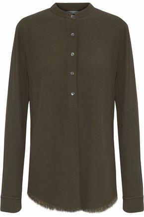 RAQUEL ALLEGRA Henley frayed crepe tunic