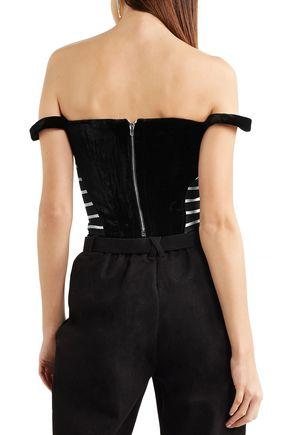 PREEN by THORNTON BREGAZZI Penelope off-the-shoulder striped jersey-paneled velvet top
