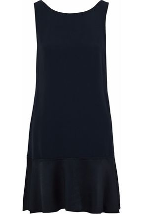 THEORY Satin-paneled crepe dress