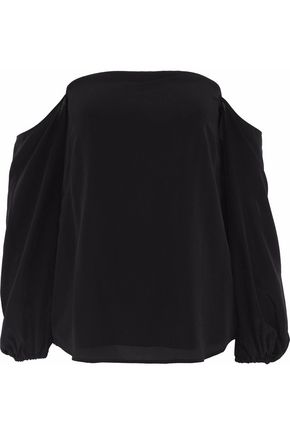 THEORY Off-the-shoulder silk-crepe top