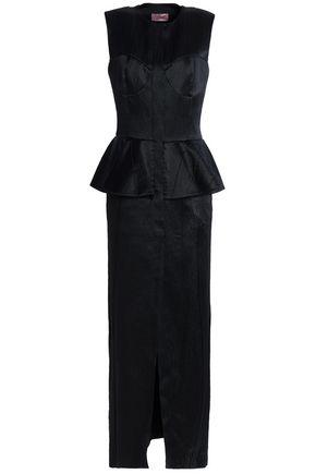 LANVIN Wool-blend cloquè peplum gown