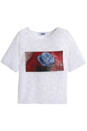 MSGM Printed lace T-shirt