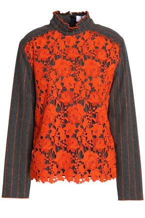 MSGM Guipure lace-paneled striped twill top