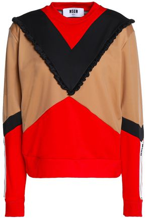MSGM Ruffle-trimmed color-block jersey sweatshirt