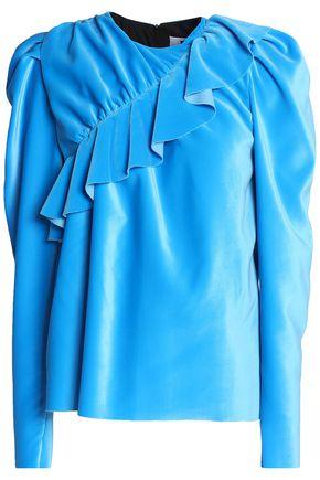 MSGM Ruffled velvet blouse