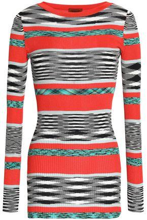 MISSONI Paneled ribbed-knit sweater