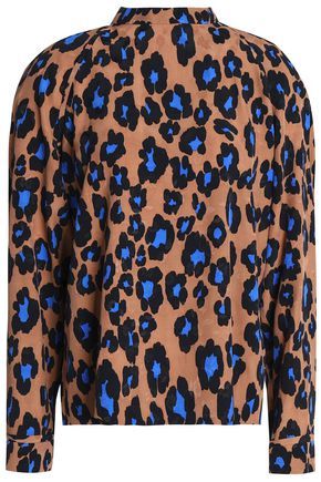 MSGM Tie-back leopard-print jacquard blouse