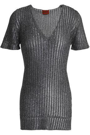 MISSONI Metallic ribbed-knit T-shirt