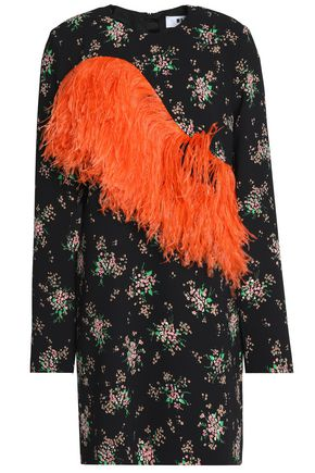 MSGM Ostritch feather-trimmed floral-print crepe mini dress
