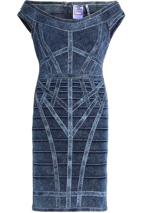 HERVÉ LÉGER Faded stretch-denim mini dress