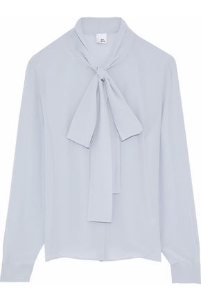 IRIS & INK Annie pussy-bow silk crepe de chine blouse