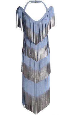 HERVÉ LÉGER Metallic fringe-trimmed bandage dress