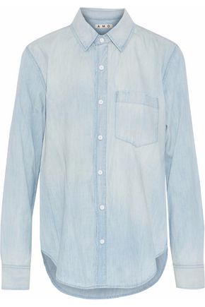AMO Prep distressed cotton-chambray shirt