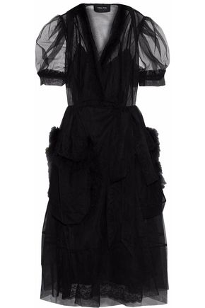 SIMONE ROCHA Faux feather-trimmed ruffled tulle wrap dress