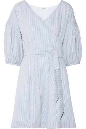 ADEAM Belted striped seersucker playsuit