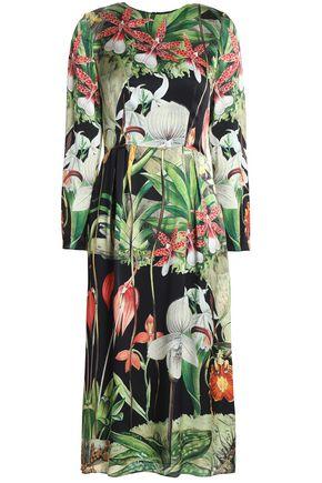 ADAM LIPPES Printed silk-satin dress