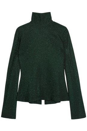 ELLERY Gospel metallic ribbed-knit turtleneck sweater