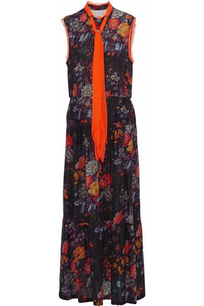 Raquel Allegra Prairie Bow Fl Print Silk Gauze Maxi Dress