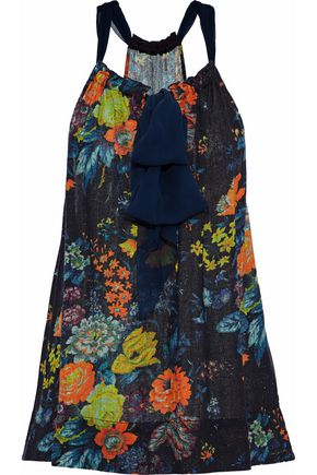 RAQUEL ALLEGRA Chiffon-trimmed floral-print silk-gauze top