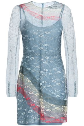 REDValentino Printed lace mini dress