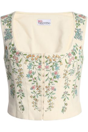 REDValentino Lace-up bead-embellished cotton bustier top