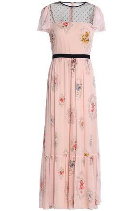 REDValentino Mesh-paneled printed silk-georgette midi dress