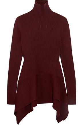 ADEAM Asymmetric ribbed silk turtleneck sweater