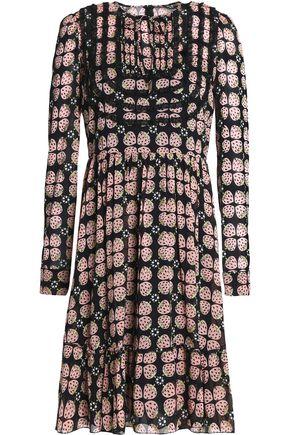 REDValentino Pleated printed stretch-silk dress