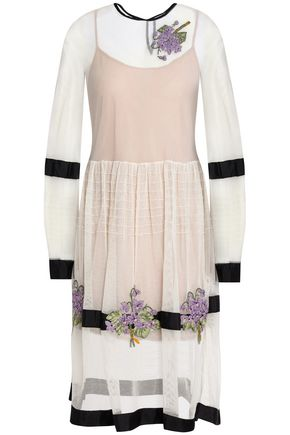 REDValentino Embroidered mesh midi dress