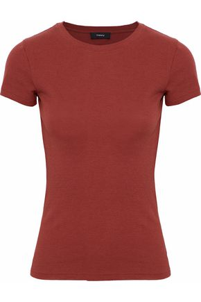 THEORY Ribbed cotton and modal-blend top