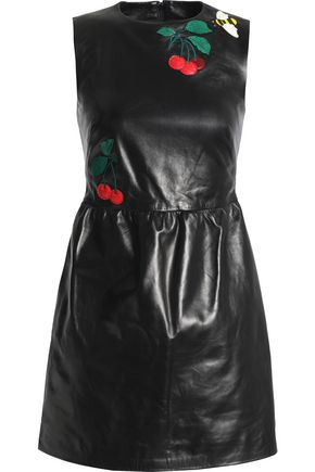 REDValentino Embroidered leather mini dress