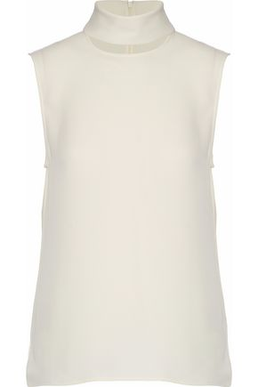 THEORY Cutout silk-crepe turtleneck top
