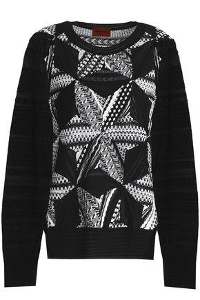 MISSONI Paneled jacquard and crochet-knit sweater