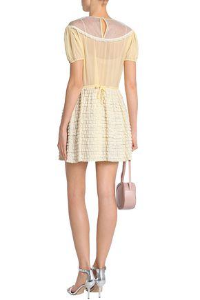 REDValentino Paneled ruffled cotton and modal-blend mini dress