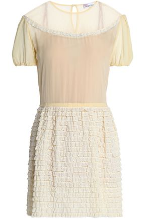 REDValentino Paneled ruffled cotton and modal-blend mini dress