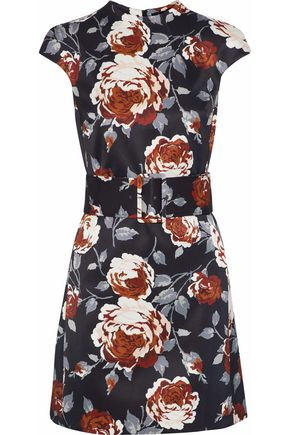 THEORY Belted floral-print satin-faille mini dress