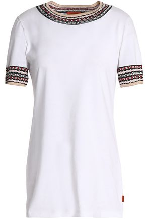 MISSONI Crochet-trimmed cotton-jersey T-shirt