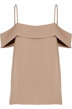 THEORY Cold-shoulder layered silk-crepe camisole