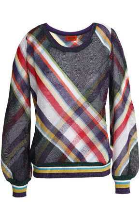 MISSONI Checked metallic crochet-knit sweater