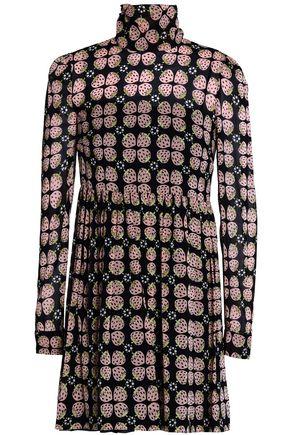 REDValentino Printed silk turtleneck mini dress