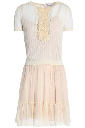 REDValentino Paneled crepe and pointelle-knit ruffle-trimmed mini dress
