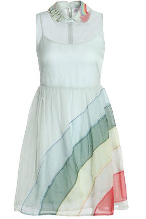 REDValentino Organza-paneled striped point d'esprit mini dress